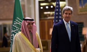 Saudi foreign minister Adel al-Jubeir (left), photographed with US secretary of state John Kerry, rebutted reports US is scaling back its arms support
