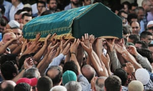 Mourners carry the coffin of Muhammed Eymen Demirci, killed in the attack on Istanbul's Ataturk airport