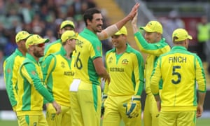 Australia's Mitchell Starc is congratulated on taking the crucial wicket of Wahab Riaz, to put paid to Pakistan's fightback
