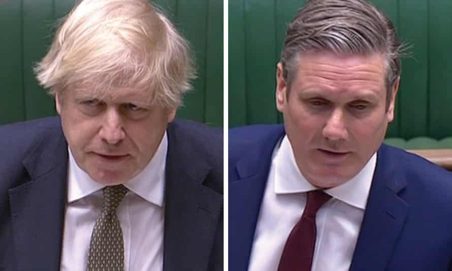 Boris Johnson and Keir Starmer. Separate head and shoulder shots with green Commons benches behind