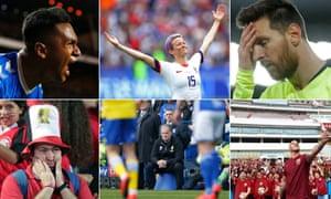 Clockwise from top left: Alfredo Morelos, Megan Rapinoe, Lionel Messi, Marko Arnautovic, Nasty Leeds manager Marcelo Bielsa and Egypt fans.