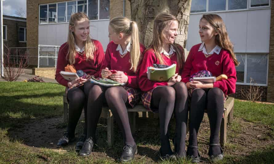 Weald of Kent Grammar School in Tonbridge. Year seven girls at morning break time. Photo by Sarah Lee