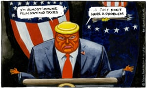 Steve Bell cartoon 7/8/20: Donald Trump says, 'I'm almost immune from paying taxes … I just don't have a problem'