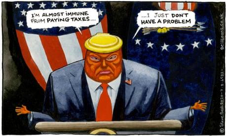 Steve Bell on Donald Trump and his taxes – cartoon