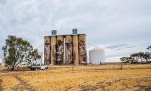 Guido van Helten's mural on silos at Brim, Victoria, Australia.