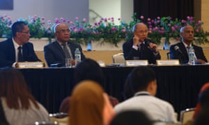 MH370 safety investigator-in-charge Kok Soo Chon speaks during a news conference in Putrajaya, Malaysia.