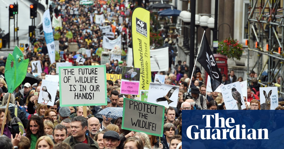 Hundreds march on Whitehall to call for end to 'war on wildlife' | Environment | The Guardian