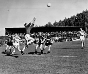 Celtic's goalkeeper, Ronnie Simpson, jumps to catch a high ball from Inter Milan during the European Cup final in Lisbon. Tommy Gemmell and Stevie Chalmers scored for Celtic which ensured a surprise 2-1 victory for the Scottish team