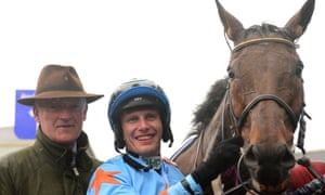 Willie Mullins (left,) Paul Townend and Un De Sceaux after seeing off Min to land the Champion Chase at Punchestown.
