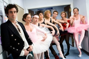 Green Wing, with (from left) Stephen Mangan, Michelle Gomez, Karl Theobald, Tamsin Greig, Julian Rhind-Tutt, Oliver Chris, Pippa Haywood and Mark Heap.