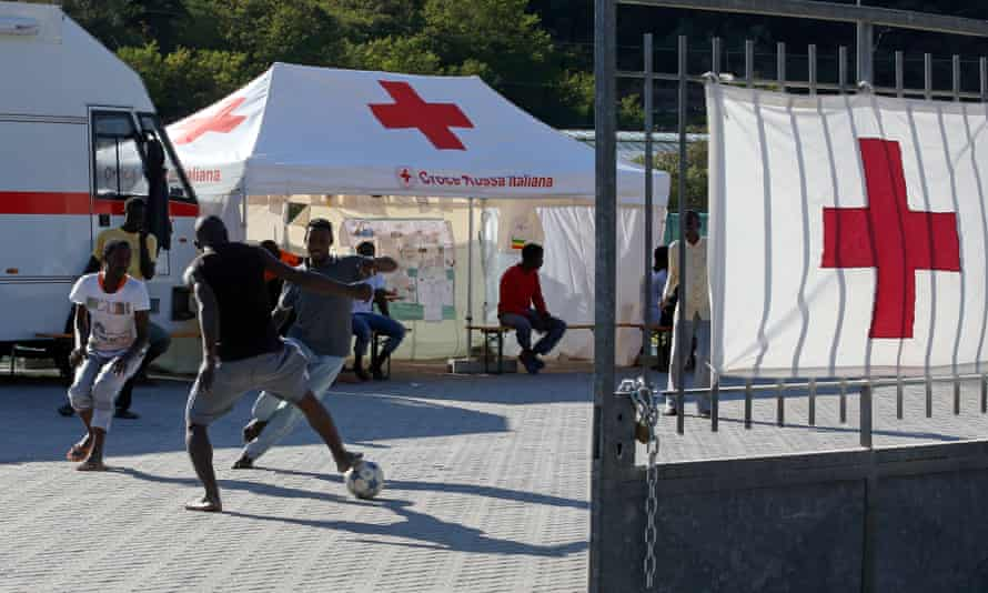 A group of migrants play football at the Italian Red Cross camp in Ventimiglia.