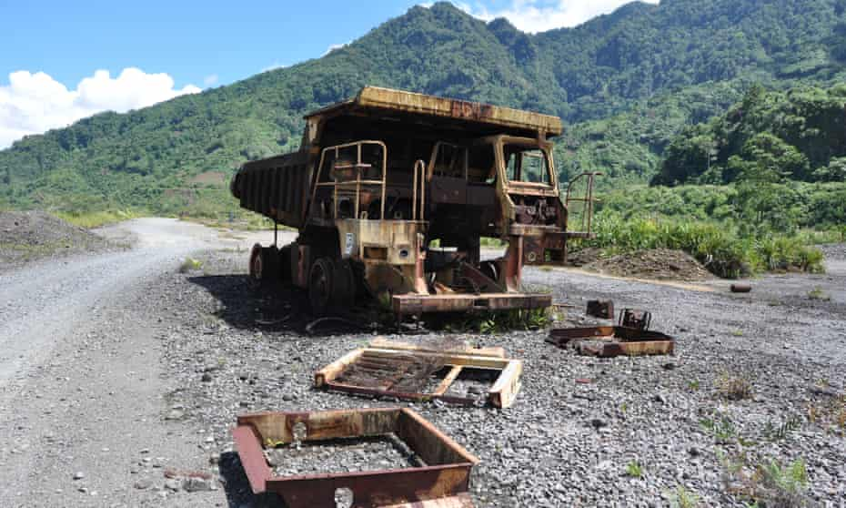 A rusted truck remains at a Panguna mine that was shut down after villagers Papua New Guinea's autonomous region of Bougainville fought a decade long civil war.