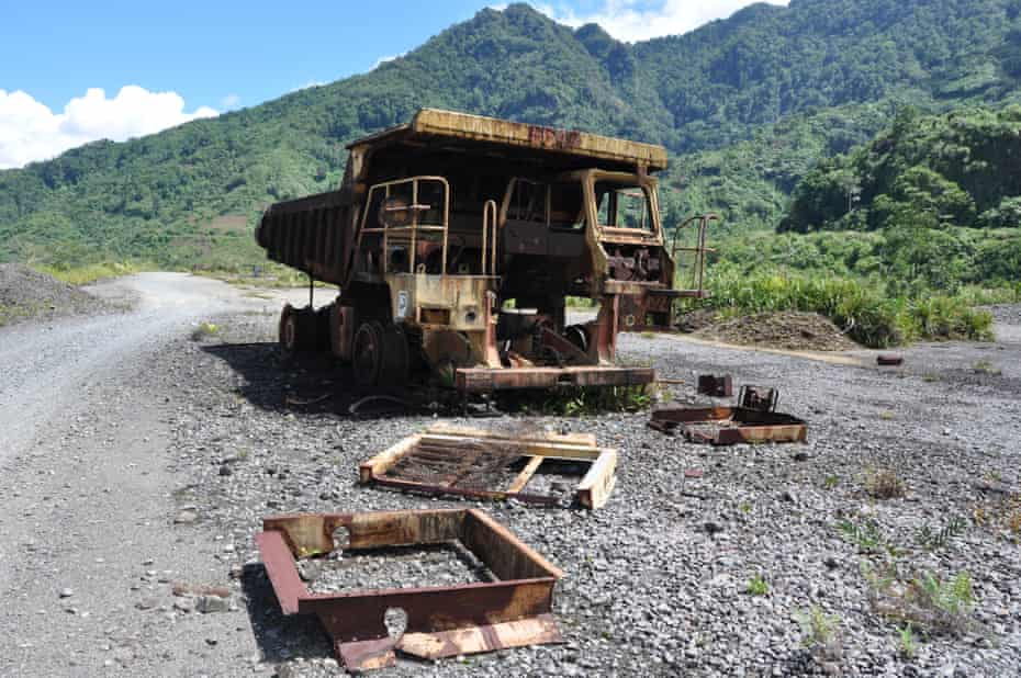 A rusted truck remains at a Panguna mine in Bougainville, which recently voted for independence from Papua New Guinea.
