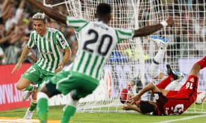 Joaquín Sánchez celebrates after scoring the only goal of the derby.