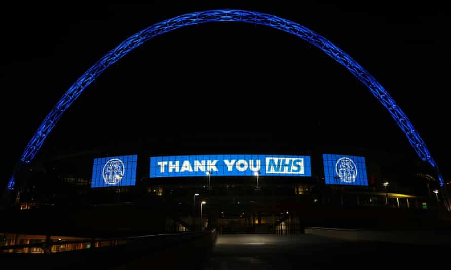 The Wembley arch is lit up in blue in a show of support for the NHS