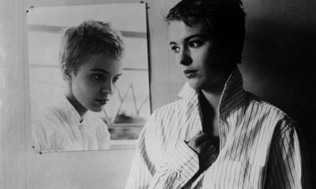 Jean Seberg in a publicity still for Breathless, directed by Jean-Luc Godard.