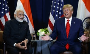 President Donald Trump meets with Indian Prime Minister Narendra Modi at the United Nations General Assembly in New York.