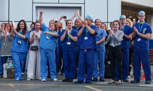 NHS workers at Royal Liverpool university hospital during a 'clap for carers' in April