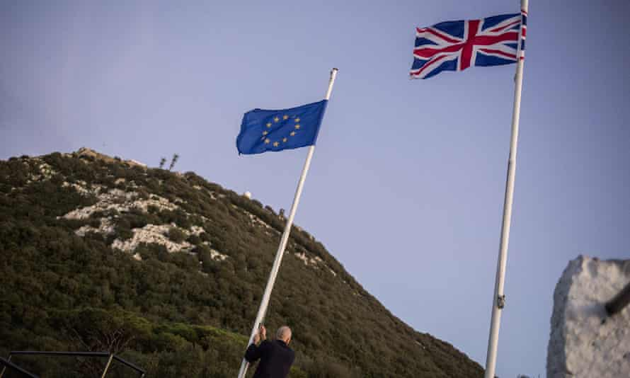 EU and British flags on Gibraltar