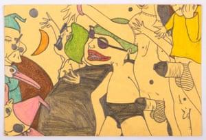 Nightmarish cartoon parties run through her early works c.1967-1970.