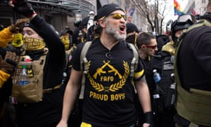 Proud Boys during a Trump rally in Washington DC on 12 December 2020.
