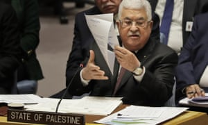 Palestinian President Mahmoud Abbas speaks during a UN Security Council meeting in New York.