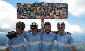 We made it: Martin, Mark, Frank and Joan at the summit of Mont Ventoux