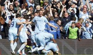 Players and crowd share the joy of Sergio Agüero's goal that won the title in 2012