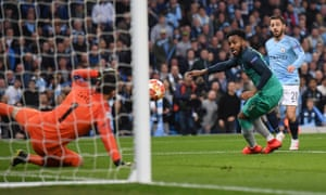 Bernardo Silva's shot clatters off Danny Rose and past Spurs keeper Hugo Lloris for Manchester City's second goal of the night.