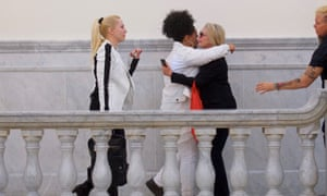 Caroline Heldman, Lili Bernard, and Victoria Valentino react after Bill Cosby was found guilty at the end of his sexual assault retrial in Norristown, Pennsylvania on 26 April 2018.