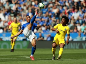 Youri Tielemans of Leicester City clears the ball from Chelsea's Willian during the goalless draw at the King Power Stadium.