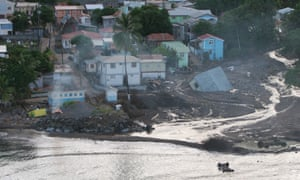 An aerial view shows washed-away buildings south of Coulihaut, Dominica.