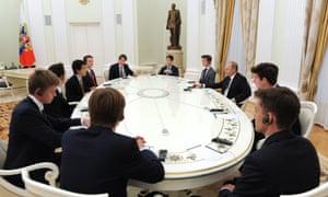 Vladimir Putin meets students from Eton College