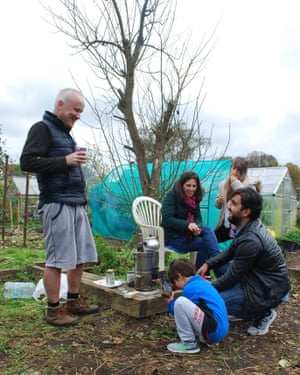 Plot holders at allotments in Finchley