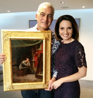 Joe and Rosanna Natoli with their Tom Roberts painting, Rejection