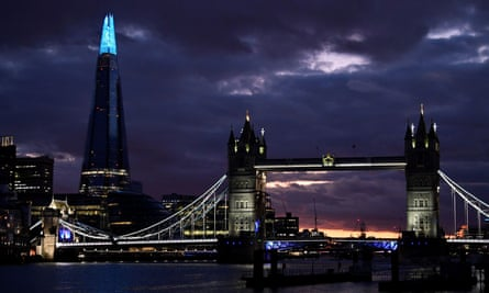 The Shard and Tower Bridge are lit to show appreciation and support for NHS staff on Thursday 26 March.