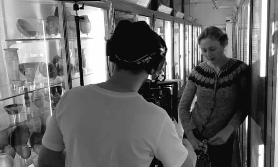 Tori Herridge and Chris Church shooting the crowdfunding film at the Petrie Museum of Egyptian Archaeology. Thanks to curator Alice Stevenson.
