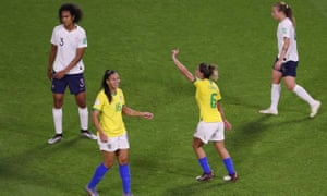 The Brazilian Tamires (2nd from right) protest after their goal has been rejected.