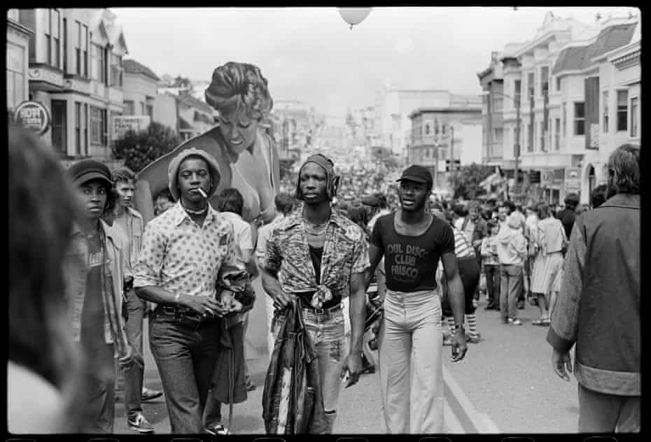 Castro Street Fair, December Wright (middle) and friends, 1976_08