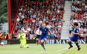 Jamie Vardy scores a penalty against Bournemouth on 29 August