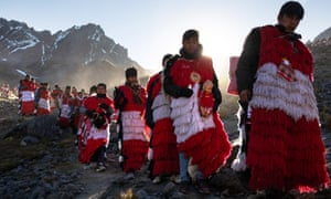 Celebrating the annual Qoyllur Rit'i festival in Ocongate, Peru. Pilgrims from across the Andes join in the mix of indigenous, pagan and Catholic worship.