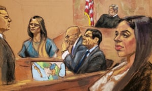 Lucero Guadalupe Sánchez López, girlfriend of accused Mexican drug lord Joaquín 'El Chapo' Guzmán, second right, testifies as Guzmán's wife, Emma Coronel, looks on.