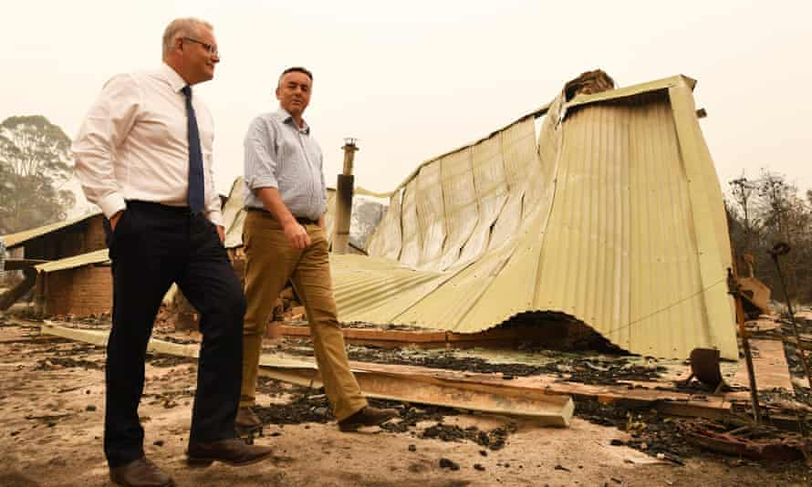 Nationals MP Darren Chester and prime minister Scott Morrison tour bushfire ravaged areas in Gippsland after the 2020 fires.