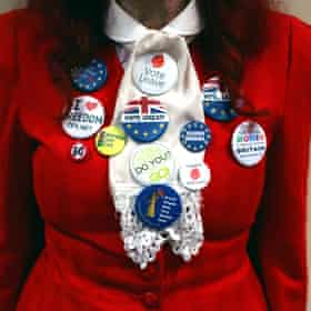 A woman wearing Brexit badges