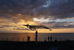 The sun sets behind the skeleton of a beached whale on display on the outskirts of the Spanish fishing town of El Cotillo in the Canary Islands.