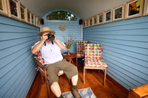 Nature's Haven category, Julian Wormald (Carmarthenshire) with The Hut The Hut is used by Wormald and his wife to escape from their busy lives and soak up the sights and surrounding fields. Situated at the top of a hill, the shed has no power apart from a small battery for some LED lights. With a big open window facing down the hillside, it is the perfect place to be at one with nature and write. The Hut is open to the public through the national garden scheme