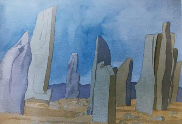 A painting of standing stones by Ann Hales-Tooke