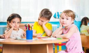 Three children at preschool