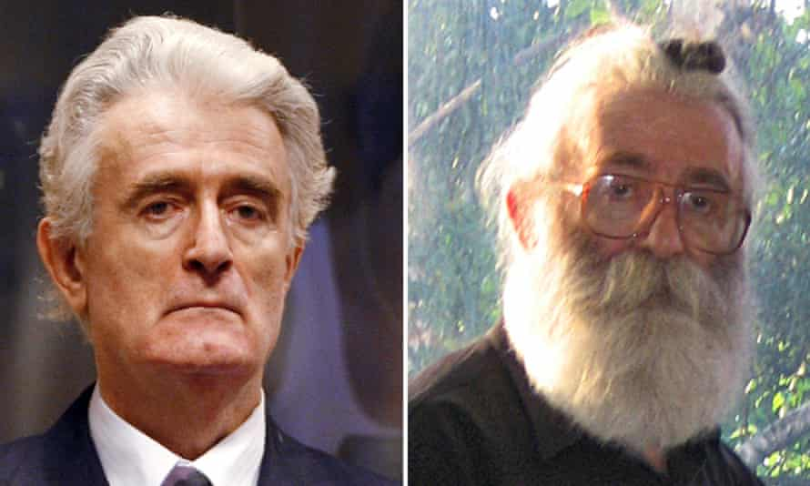 Karadžić at The Hague and in disguise as Dragan Dabic.