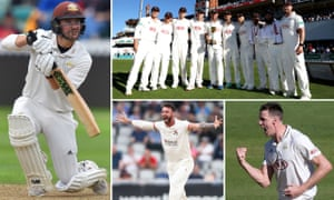 Clockwise from left: Rory Burns, Surrey win the title, Morne Morkel, and Jordan Clark celebrates the wicket of Joe Root.